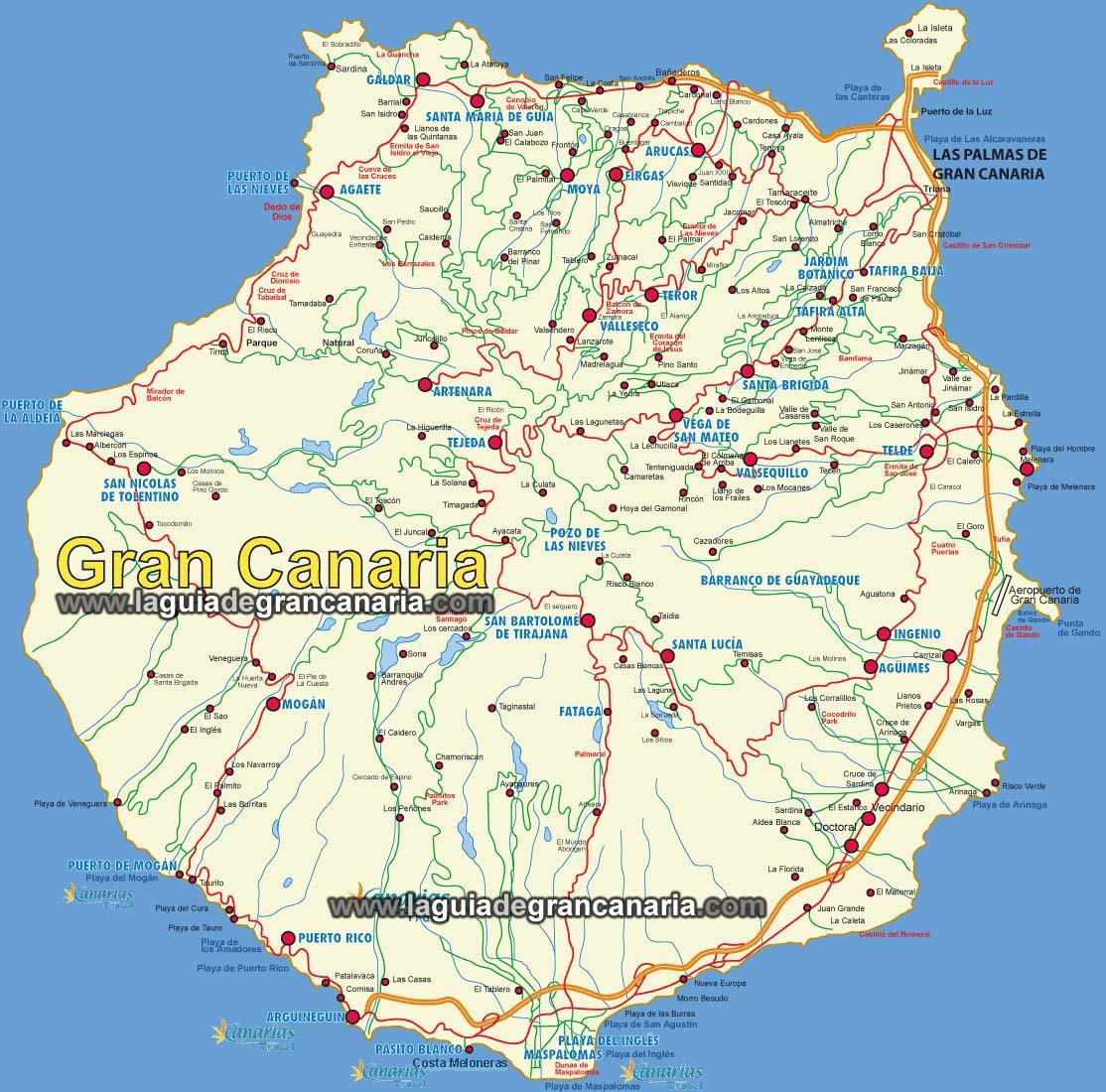 Mapa Sencillo de la Isla de Gran Canaria