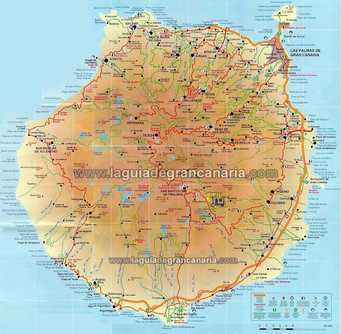 Mapa De Gran Canaria Islas Canarias
