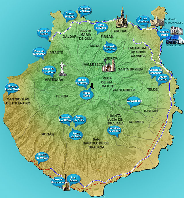 disponible en PDF para imprimir: Mapa de Gran Canaria PDF DINA4